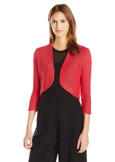 Anne Klein Women's Sequined Knit Open Front Shrug  M