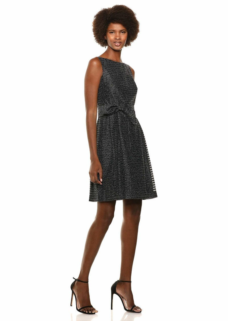 Anne Klein Women's Shadow Stripe FIT & Flare Dress Anne BLK/Morning Light CMBO
