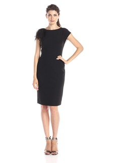 Anne Klein Women's Sheath Dress with Organza Sleeve Detail