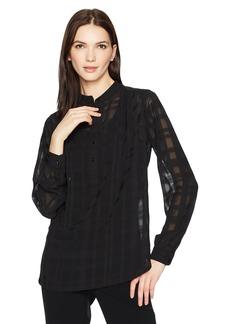 Anne Klein Women's Sheer Check Long Sleeve Blouse  M