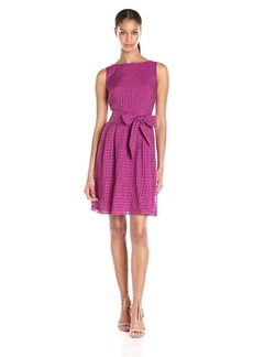 Anne Klein Women's Sheer Gingham Organza Fit and Flare Dress