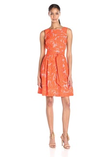 Anne Klein Women's Sheer Novelty Fit and Flare Dress with Self Sash