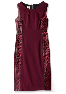 Anne Klein Women's Shiny Leopard Jacquard Sheath Dress