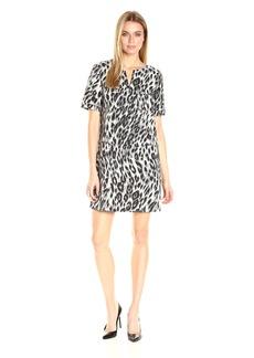 Anne Klein Women's Short Sleeve Animal Jacquard Shirt Dress