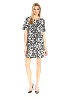 Anne Klein Women's Short Sleeve Animal Jacquard Shirt Dress