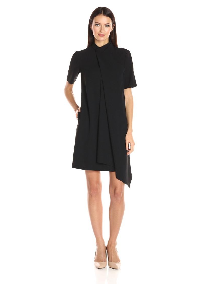 Anne Klein Women's Short Sleeve Asymetrical Drape Front Dress