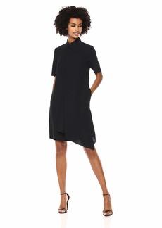 Anne Klein Women's Short Sleeve Asymmetrical Drape Front Dress