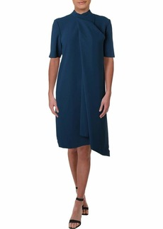 Anne Klein Women's Short Sleeve Asymmetrical Drape Front Dress