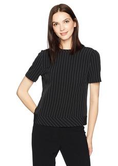 Anne Klein Women's Short Sleeve Button Back Blouse