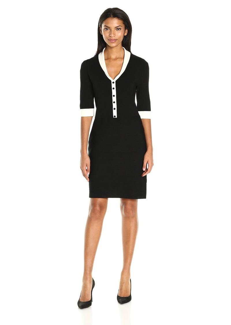 Anne Klein Women's Short Sleeve Shawl Collar Dress  S