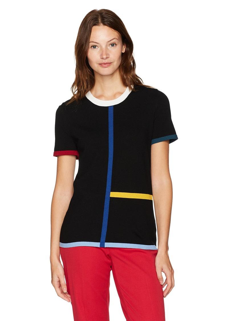 Anne Klein Women's Short Sleeve Color Block Sweater Tee  XS