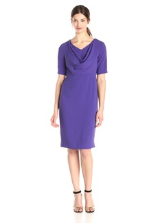 Anne Klein Women's Short Sleeve Cowl Neck Sheath Dress