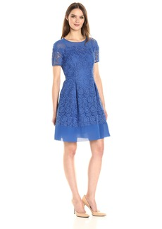 Anne Klein Women's Short Sleeve Crochet Lace Fit and Flare