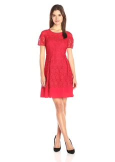 Anne Klein Women's Short Sleeve Crochet Lace Fit and Flare Dress