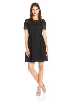 Anne Klein Women's Short Sleeve Crochet Lace Fit & Flare Dress