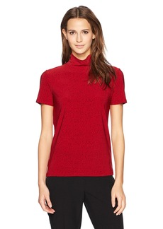 Anne Klein Women's Short Sleeve Mock Neck Top titian Red/Black L