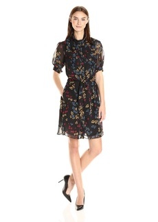 Anne Klein Women's Short Sleeve Printed Chiffon Shirt Dress