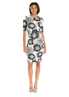 Anne Klein Women's Short Sleeve Printed Scuba Dress