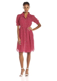 Anne Klein Women's Short Sleeve Printed Shirt Dress
