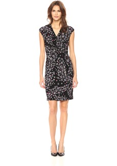 Anne Klein Women's Short Sleeve Printed Side Twist Pleated Dress  M