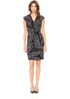 Anne Klein Women's Short Sleeve Printed Side Twist Pleated Dress  S