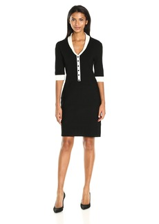 Anne Klein Women's Short Sleeve Shawl Collar Dress  M