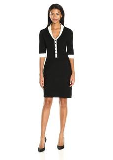 Anne Klein Women's Short Sleeve Shawl Collar Dress  M