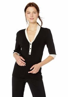 Anne Klein Women's Short Sleeve Shawl Collar Sweater  S