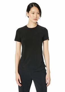 Anne Klein Women's Short Sleeve Shirred Waist TOP  L