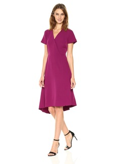 Anne Klein Women's Short Sleeve V-Neck Asymmetrical Hem Dress-Crepe