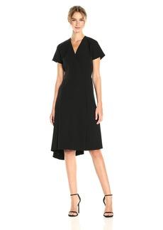 Anne Klein Women's Short Sleeve Vneck Asym Hem