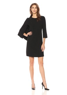 Anne Klein Women's Side Ruffle Cape Sheath Dress
