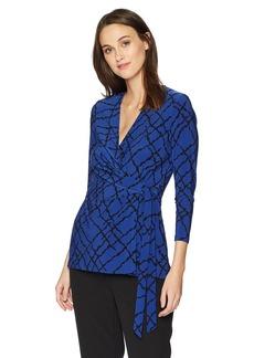 Anne Klein Women's Side Tie Wrap Top okeefe Blue/Black