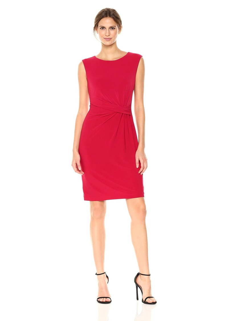 Anne Klein Women's Side Twist Pleated Solid Dress  XL