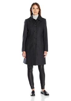 Anne Klein Women's Single Breasted Club Collar Walker 3/4 Length Wool Coat