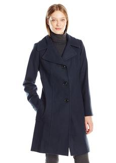 Anne Klein Women's Single Breasted Club Collar Walker 3/4 Length Wool Coat