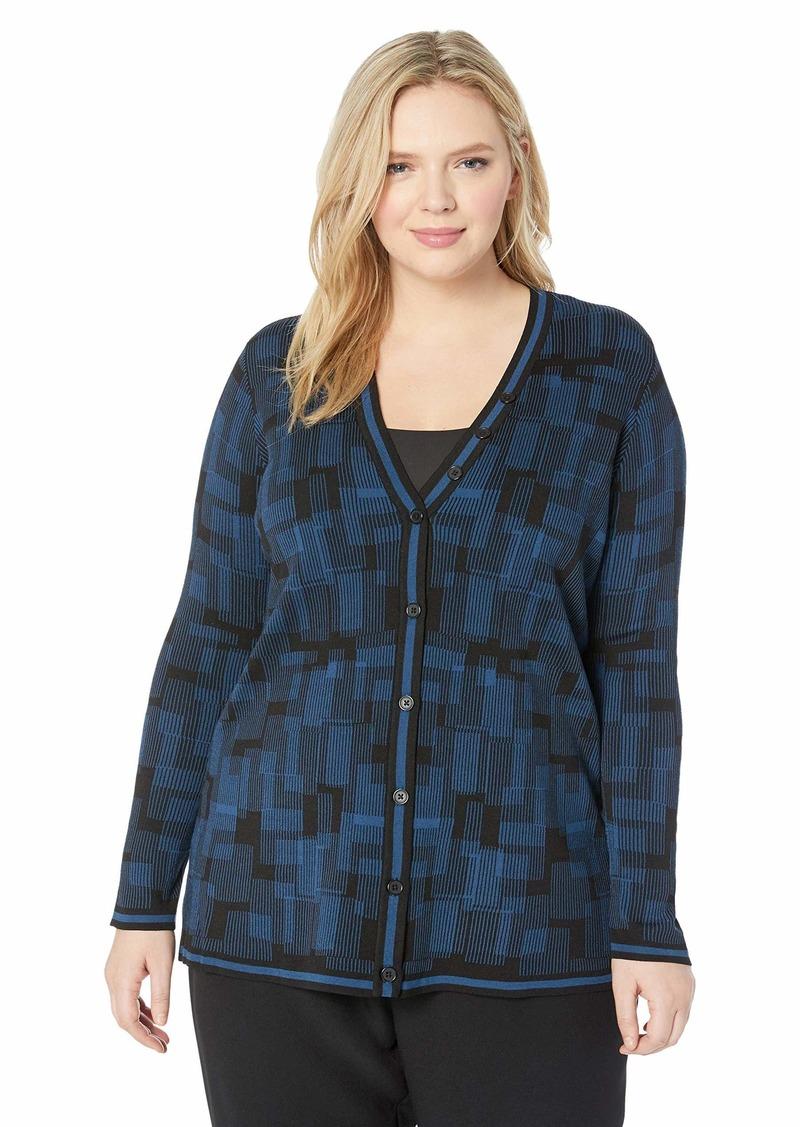 Anne Klein Women's Size Plus Button Front Cardigan