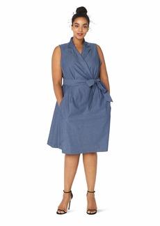 Anne Klein Women's Size Plus Chambray Notch Collar WRAP Dress