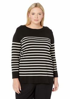 Anne Klein Women's Size Plus Crew Neck Long Sleeve Sweater Black/Anne White