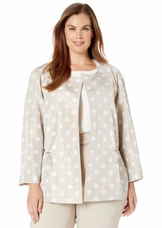 Anne Klein Women's Size Plus Cropped Open Front Jacket