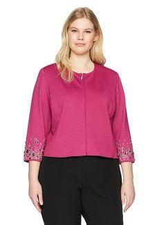 Anne Klein Women's Size Plus Embellished Sleeve Jacket