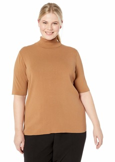 Anne Klein Women's Size Plus Half Sleeve Turtleneck Sweater