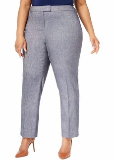 Anne Klein Women's Size Plus Linen Twill Slim Pant