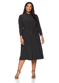 Anne Klein Women's Size Plus Long Sleeve Button Down Dress