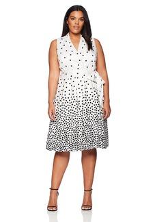 Anne Klein Women's Size Plus Notch Collar WRAP Dress