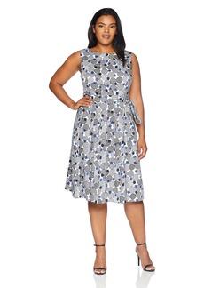 Anne Klein Women's Size Plus Printed Cotton FIT & Flare Dress