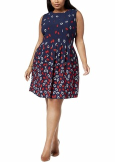 Anne Klein Women's Size Plus Seamed Crepe FIT & Flare Dress