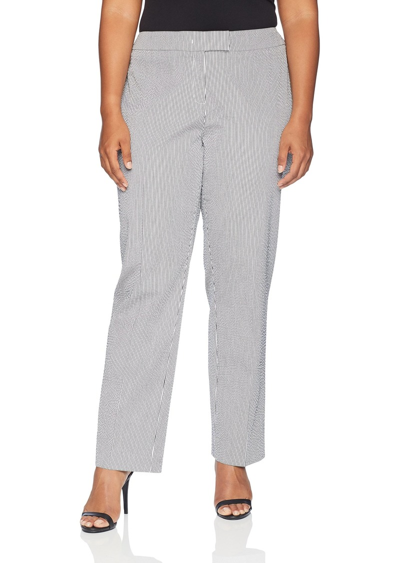 Anne Klein Women's Size Plus Seersucker Slim Pant
