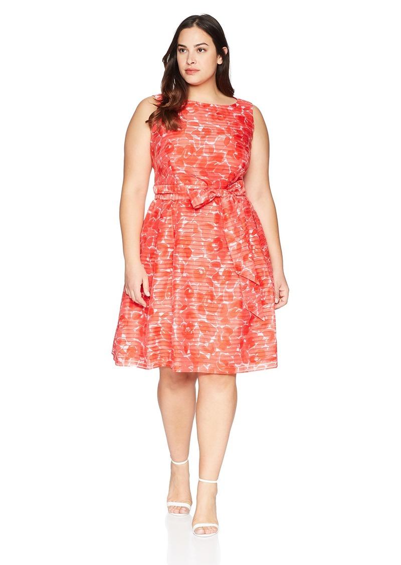 Anne Klein Women's Size Plus Shadow Stripe FIT & Flare Dress
