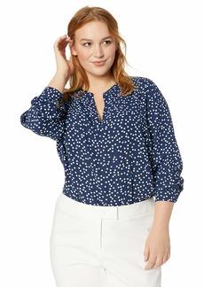 Anne Klein Women's Size Plus Split Neck TOP Marine Blue/Anne WHT